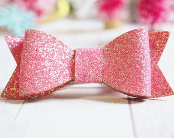 Bubble Gum Pink Glitter Bow | Hair Clip