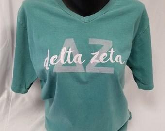 Christmas in July Sale!  Delta Zeta Comfort Color Short Sleeve V-Neck Tshirt, Seafoam