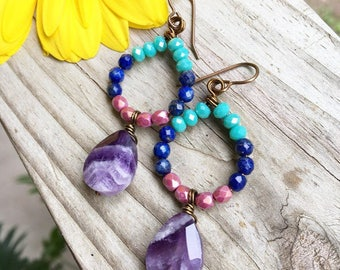Gemstone Dangle Earrings - Amethyst Earrings