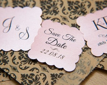 """100 Baby Pink Pearlised 1.5 inch Square Shiny Stickers, Envelope Seals. Custom Pink Stickers. 1.5"""" Save the date stickers. Invitation Seals."""