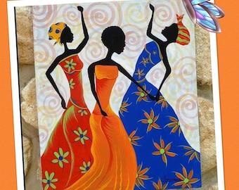 "Hand Paint T-shirt"" African Girl"",acrylic painting,handmade,women and men,gift,decor,design"