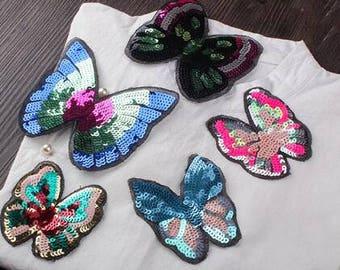 Butterfly applique Embroidered applique Paillette applique Butterfly patches-2 PCS