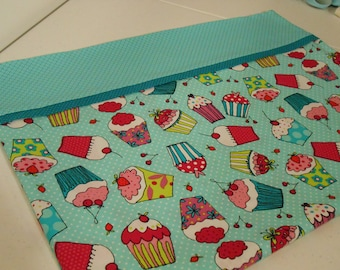 pillow case, standard size, cupcakes, turquoise, pink