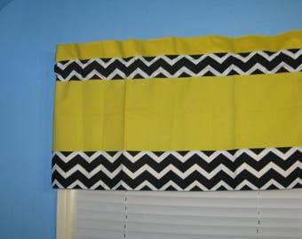 Handmade Bright Yellow  with Black White Chevron TRIM Window Curtain Valance Topper