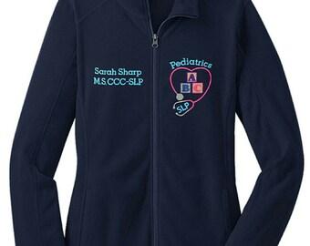 Pediatrics Speech Language Pathologist Fleece Jacket with ABC Blocks Stethoscope -SLP zipup light weight fleece jacket with color options
