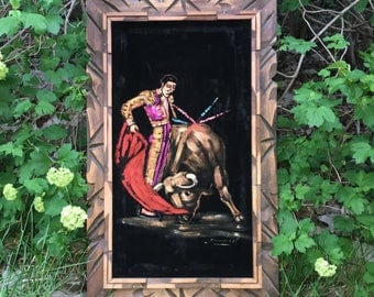 Vintage Matador / Torero Man Fighting Bull Velvet Painting Wall Hanging Wood Frame Made in Mexico
