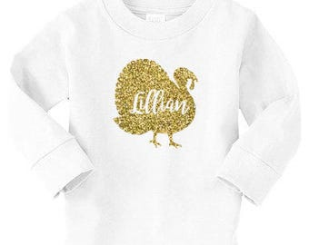 Glitter Turkey with Name Toddler Tshirt | Thanksgiving or Fall | Glitter Gold and Other Colors | Toddler Holiday | 070