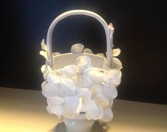 White Satin Flower Girl Basket