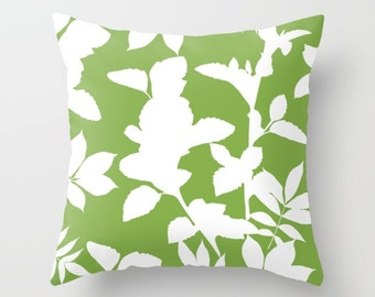 Green pillow with insert Cover - Green Decor - Leaves pillow with insert Cover - Modern Home Decor - By Aldari Home