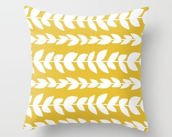Leaves Pillow  - Modern Vines Pillow  - Yellow pillow  - Modern Home Decor - By Aldari Home
