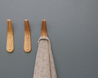 English Elm Wood Coat Hook - Steam bent curve