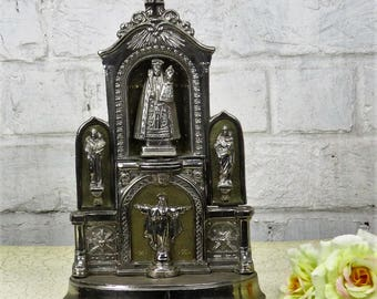 Our Lady of Montaigu Vintage Virgin Mary Madonna with Child Spelter Chapel