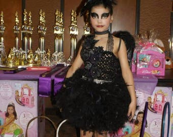 Black swan feather dress, pageant cupcake dress, feather dress, black tutu dress, black feather wings, black swan feather wings, swan lake