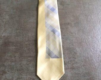 Vintage Estate AUTHENTIC Mr. John Slate Blue Cream Skinny Tie