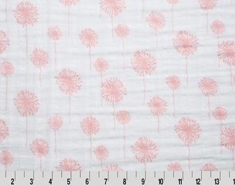 Premier Dandelion Embrace in Coral by Shannon Fabrics Swaddle Blanket Fabric White Pink