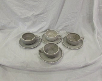 Russel Wright, Cups and Saucers, Four Sets, Soft Grey, Steubenville, USA, 1950's or 1960's