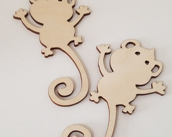 Set of 6 Wooden Monkey Cut Outs ( Embellishments, Scrap Booking, Decoupage )