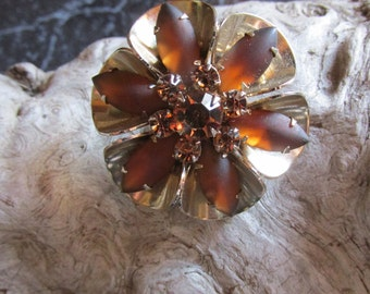 Satin Cognac Brown Stone and Rhinestone Brooch Pin Floral Flower