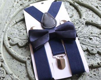 Kids Boys Baby,Suspenders,navy blue bow tie 6months-5T,Ring bearer