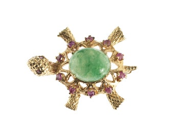 14k Gold Jade and Ruby Turtle Pin