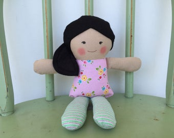 Handmade Asian rag doll perfect size for small hands, 10""
