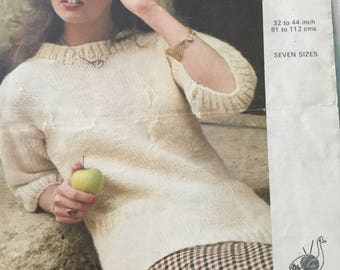 Emu Fiord ladies 3/4 sleeve jumper pattern 1970's