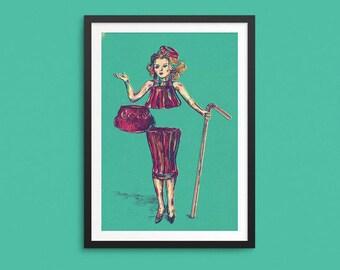 Coke Woman Screen-Print  Poster Print