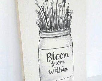 Bloom from within original artwork, hand painted on wood