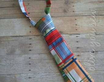 baby neckties, toddler neckties, boy neckties, adjustable ties -plaid  (ages 6 months - 7 years)