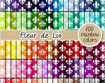 SALE 100 Fleur de Lis digital paper rainbow floral digital paper fleur de lis clipart fleur de lis pattern 12x12 pastel digital paper