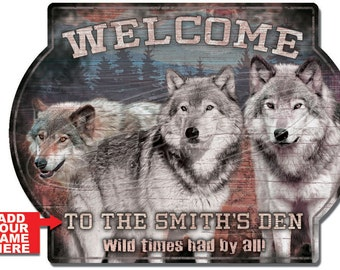 Personalized Wolf Pack Cabin Hardboard Welcome Sign