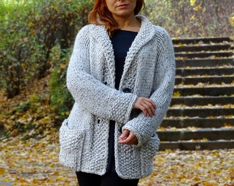 knit cardigan, bulky, wool cardigan, off white, hand knit, midi cardigan, knit coat, chunky, knit jacket, tweedy, wool, made to order