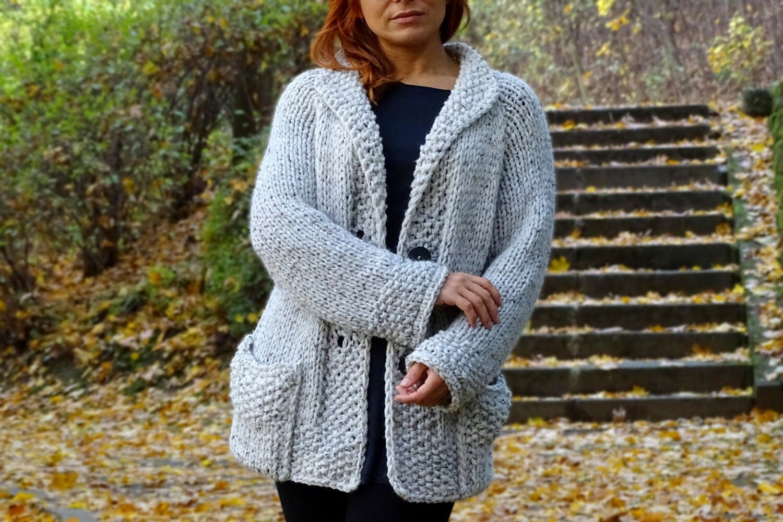 knit cardigan bulky wool cardigan off white hand knit