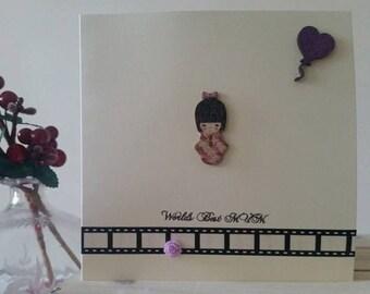 Mum Birthday Card Mum - Mother's Day Card - World's Best Mum - Japanese Card Mum - Handmade Card - Purple Card Mum Happy Birthday Mum