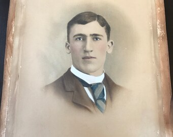 Unframed Antique Crayon Portrait of a Young Man - Late 1800s Early 1900s