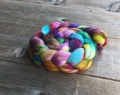 ELECTRIC ROSE color spinning fiber, Organic, Polwarth, roving, spinning, handpainted, hand dyed, top, wool