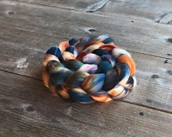 HALLOWS color spinning fiber, Organic, Polwarth, roving, spinning, handpainted, hand dyed, top, wool