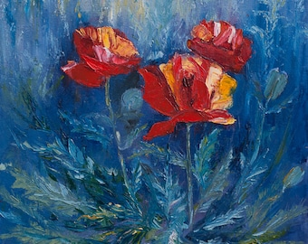 Oil Painting Poppies Original Artwork Home Decor Wall Hanging Art Red Blue Floral
