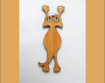wooden cat brooch