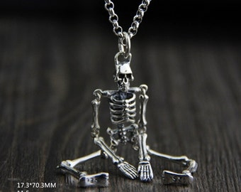 Retro design S925 Sterling Skeleton Skull  Charm    pendant 11.5g