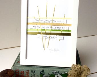 Maori Quote A5 Framed Art Made In London - Handmade Handwritten Mindful Quote Woven Greens and Yellow Ribbons  - Thoughtful Inspiring Gift