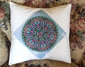 Hand Made OOAK Hand Printed Mandala Design Cushion Cover