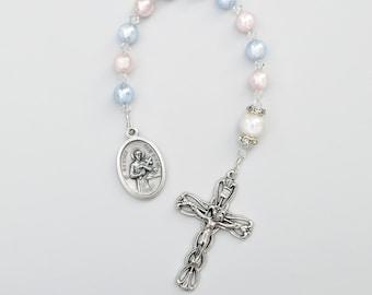 Pregnancy Motherhood Childbirth Fertility - Pink and Blue Swarovski Crystal Pearl Saint Gerard Rosary Chaplet - With Prayer Card