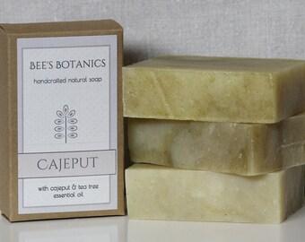 CAJEPUT- Bee's Botanics Handmade Soap - 100% Natural & Vegan - Essential Oil Soap - Hot Process - 4 ounce bar