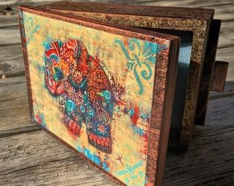 Vintage Bohemian Elephant Jewelry Box- Handcrafted Wooden Jewelry Box,  Jewelry Organizer, wood jewelry box, small trinket box, small storag