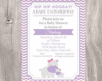 Baby Shower Invite, Hippo Baby Shower Invitation, Printable Lilac Hippo Baby Shower Invitation, Lilac Chevron Invite