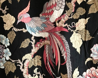 FRENCH VINTAGE FABRIC / Black / Cotton / Sewing / Floral / Printed fabric / Birds / Home decor / Curtain / Tablecloth