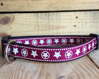 Western dog collar, star dog collar. Quick release buckle, 1 in width