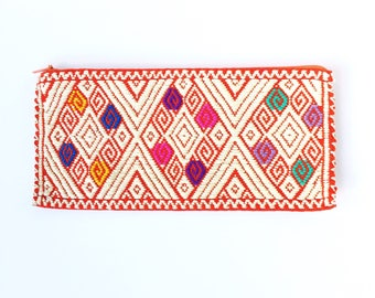 Maya Pouch / Hand Embroidered Pouch / Mexican Zipper Pouch / Multicolored Mexican Pouch / Boho Makeup Bag / Sunglass Pouch