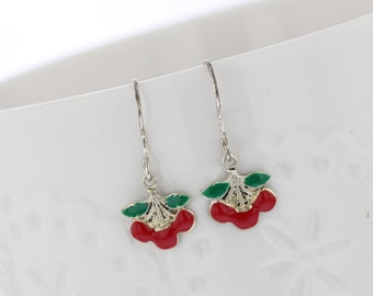 Sterling Silver Hand Painted Cherry Dangle Earrings, Tiny Earrings, Food Earring, Cherry, Dangle Earrings, Food, Cute, Red, Green, Silver